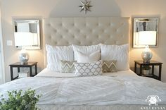 Pottery Barn Lorraine Tufted Bed with white Hadley Ruched Duvet   Kelley Nan