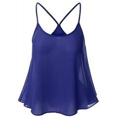 Sweet U Neck Spaghetti Strap Solid Color Camisole Top For Women ($10) ❤ liked on Polyvore featuring tops, cami top, blue tank, spaghetti strap camisole, blue cami and cami tank tops