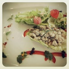 #healthy salad in a fine dining setting at Samabe Bali Resort & Villas www.samabe.com
