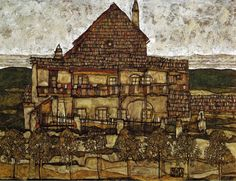 House with a Bay Window in the Garden - Egon Schiele - WikiArt.org