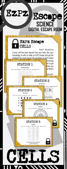 Students will have a blast with this Cells Digital Escape Room! Students will use their knowledge of cells to make an EzPz Escape! Students are required to answer station cards and use a decoder to get the code that will break them out of the digital room.