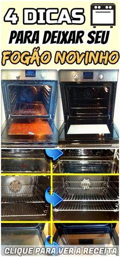 Dicas incrível para limpar o seu fogão completamente, a superfície, as peças, o forno e todos os vidros! #fogão #limpar #limpeza #dica #caseira #engordurado #bicarbonato #queimado