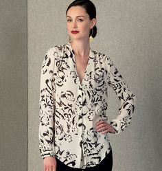 V1412 I love, love, love Rebecca Taylor's blouse patterns.  So feminine and interesting. Misses Top
