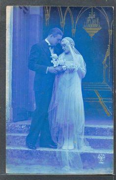 QB041 ART DECO COUPLE MARIAGE Mariée WEDDING DAY BRIDE KITSCH PHOTO d'ART