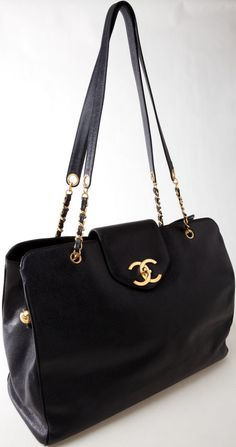 Heritage Vintage: Chanel Rare Black Caviar Leather Large Weekender Bag
