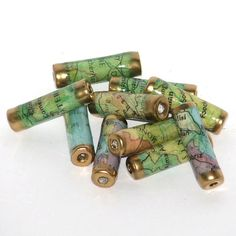 Recycled map beads-bead caps -fun