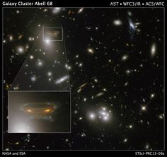 """NASA Releases """"Alien Invader"""" Photo From Distant Galaxy    The universe is eerie enough without giving us an apparition of a 1980s video game alien attacker. This oddball-looking object is really a mirage created by the gravitational field of a foreground cluster of galaxies warping space and distorting the background images of more distant galaxies."""