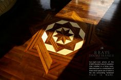 The 8 Rays Double Frame hardwood floor medallion - Close view. Manufactured by Pavex Parquet - http://www.pavexparquet.com/