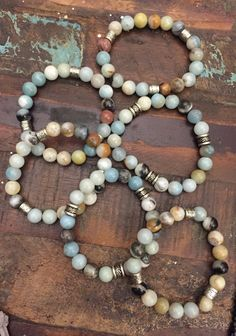 The gemstone, amazonite is a beautiful blue green, mint green to an aqua green stone. It is often called the stone of courage and the stone of truth. It usually has white streaks running through it an