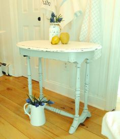 table painted furniture antique shabby chic by backporchco on Etsy Shabby Chic Cottage, Shabby Chic Style, Cottage Style, Repurposed Furniture, Shabby Chic Furniture, Painted Furniture, Bedroom Furniture, Home Accessories, House Design