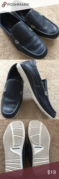 Men's Rockport Leather Slip-on Loafer, Navy, 7.5M Beautiful navy leather upper by Rockport. Size 7.5 M. This shoe has an adiprene sole by Adidas for extra comfort. Gently used, but in great condition. Please refer to photos. Thanks for visiting my closet. Happy poshing! Rockport Shoes Loafers & Slip-Ons