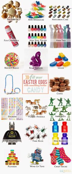 A list of ideas for easter egg stuffers like bouncy balls, stickers and toys instead of candy.