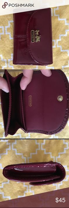 Coach wallet/credit card holder Maroon patent leather credit card/card holder Coach Bags Wallets