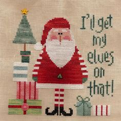Lizzie Kate ~ Cross Stitch ~ I'll get my elves on that! Santa Cross Stitch, Cross Stitch Love, Cross Stitch Charts, Cross Stitch Designs, Cross Stitch Patterns, Cross Stitch Christmas Ornaments, Christmas Embroidery, Christmas Cross, Cross Stitching