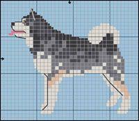 Alaskan Malamute Hand Embroidery Stitches, Cross Stitch Embroidery, Cross Stitch Charts, Cross Stitch Patterns, Dog Chart, Pixel Crochet Blanket, Cross Stitch Animals, Dog Pattern, Beaded Animals