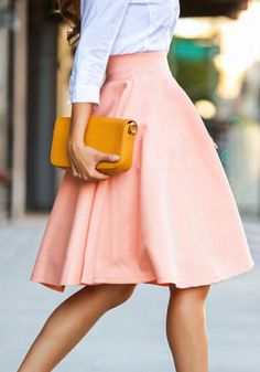 Pink Plain Draped High Waisted Skirt