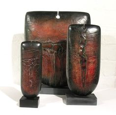 Ceramics by Peter Hayes at Studiopottery.co.uk - Raku, group from Rufford Exhibition, Summer 2009 (photo. David Binch)