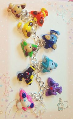 Eeveelutions Charm Bracelet by SparklyCharmsShop on Etsy