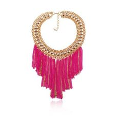Tassels Style Delicate Rhinestone Inlaid Collar Necklace(Rose)