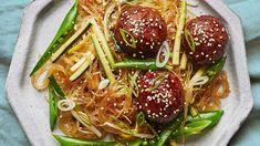 Hoisin-Turkey Meatballs with Glass Noodles Recipe   Bon Appetit