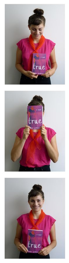 Sarah from publicity is wearing a glorious outfit today perfectly matching next's month's 'True'—a fantastic novel from Finnish author Riikka Pulkkinen. First in an irregular series of colourful cover-related coincidences.