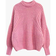 Oversized Crop Knit Sweater ($99) ❤ liked on Polyvore featuring tops, sweaters, pink, knit crop top, over sized sweaters, pink knit sweater, oversized knit sweaters and cut-out crop tops