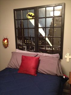 Batman headboard w repurposed old windows....ummm love this with my whole heart.