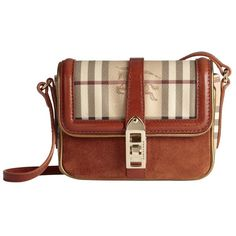 Burberry Haymarket Check Metallic Detail Crossbody Bag ($650) ❤ liked on Polyvore featuring bags, handbags, shoulder bags, purses, bolsas, accessories, burberry a/w 12, handbag purse, brown crossbody purse and handbags shoulder bags