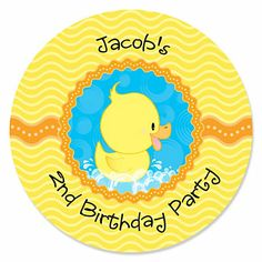 Our original Ducky Duck personalized baby shower sticker labels make your do-it-yourself projects painless! Our sticker labels are 1 in diameter. You can use our special Ducky Duck stickers for placing on a baby bottle tied with ribbon, an empt Baby Shower Duck, Baby Shower Favors, Baby Shower Parties, Baby Shower Themes, Shower Ideas, Shower Party, Rubber Duck Birthday, Ducky Duck, Easy Party Decorations