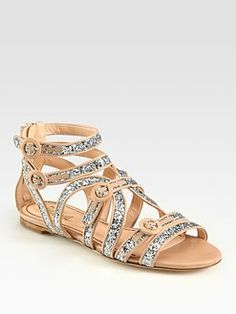 Jerome C. Rousseau Glitter-Coated Leather Gladiator Sandals