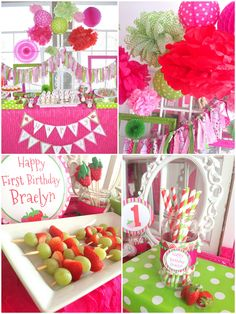 Adorable Strawberry Birthday Theme!