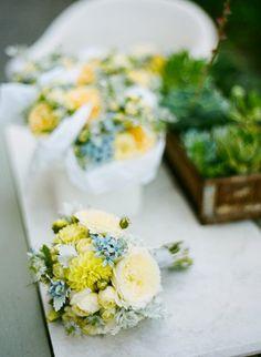 Shabby Chic Blue Green Yellow Bouquet Garden Summer Wedding Flowers Photos & Pictures - WeddingWire.com