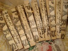 Stamped wooden clothes pins