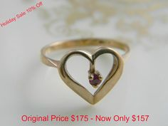 Vintage Ruby Heart Ring 10k Solid Yellow Gold by LoversLaneJewelry