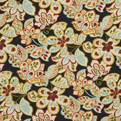 Aqua Red on Black Venice Large Floral Print Themed Upholstery Fabric