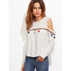 SheIn(sheinside) White Woven Tape And Pom Pom Embellished Cold... ($15) ❤ liked on Polyvore featuring tops, t-shirts, white, long sleeve cold shoulder tops, long sleeve tees, long sleeve white t shirt, cold shoulder tops and white long sleeve top