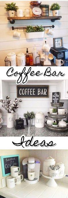 DIY Coffee nook ideas and farmhouse coffee bar decorating ideas