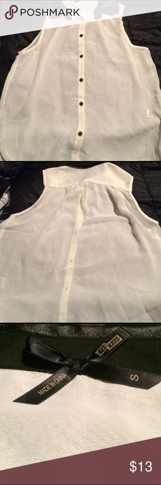 """""""Sheer"""" COLOR: cream/black  FEATURES: sheer; pleather collar; sheer; pleats along back; button up  CONDITION: NWOT  DIMENSIONS:   MATERIALS: 100% polyester Ali & Kris Tops Blouses"""