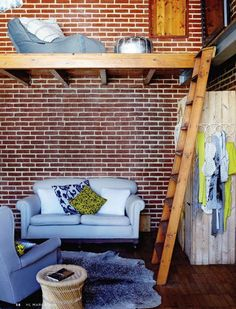 Maybe with the huge wall we could create a tiny loft.