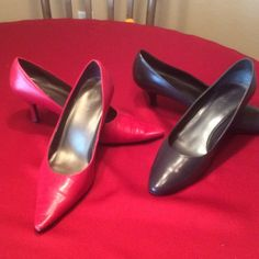 2 Pair of Maripe' Pumps Smart dress pumps with comfortable cushion insole. Shoes has leather upper with a classic pump silhouettes. Signs of slight wear and tear in photos but shoes still have plenty mileage to set off any outfits. Red pump is 3 inch and black pump is 2 inch. Maripe' Shoes Heels