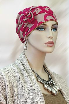 $21.75 - Pink Pop Short Tail Headwrap     #cancer #chemo #alopecia #hair loss