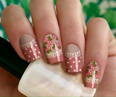 New nails ideas flowers polka dots Ideas Rose Nail Art, Rose Nails, Flower Nails, Perfect Nails, Gorgeous Nails, Spring Nails, Summer Nails, Hair And Nails, My Nails