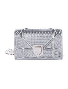 91665805b5c In Stores Now. Metallic silver Microcannage patent leather Christian Dior  Micro Diorama bag with silver-tone hardware, single chain-link shoulder  strap, ...