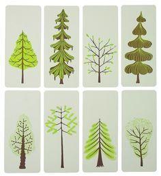 letterpress mini prints with envelopes  I like this idea for a print using a series of drawings of trees.