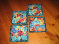 Valentine's Day Fabric Coasters Blue Orange by TahoeQuilts on Etsy