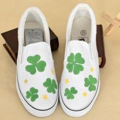 Painted Clover Slip-Ons from #YesStyle