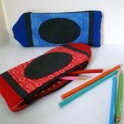 Crayon Pencil Case Zip Bag - via @Craftsy Cute Zip bag, personalize it with a name Lori Miller Designs