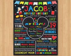 Mickey Mouse Chalkboard Poster First Birthday by ArtisanGalore