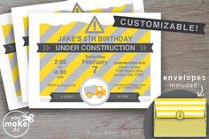 INSTANT DOWNLOAD CONSTRUCTION PARTY INVITATION PRINTABLES Construction party invitations to make your own customized construction party invites for construction party theme birthday parties and construction party baby showers. Easy DIY customization—simply click and type to add your own text over the sample text (customize the event date, address or location, guest of honor's name, event (birthday, baby shower, preschool graduation, 1st birthday), and RSVP information!