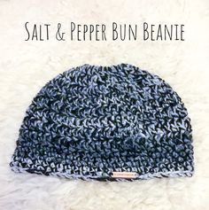 Salt and Pepper Bun Beanie by RelaxingWithYarn on Etsy